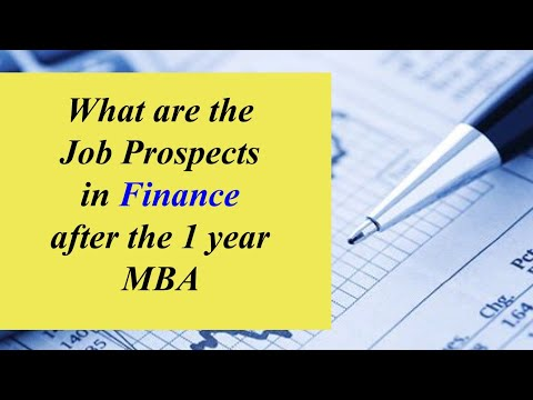 What are the job prospects in finance after the 1 year MBA