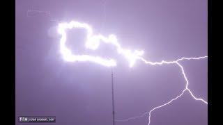 UPWARD lightning strikes tower repeatedly UP CLOSE in Nebraska!