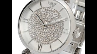 emporio armani ar1925 ladies watch classic crystal pave silver エンポリオアルマーニ シルバー クリスタル レビュー レディース