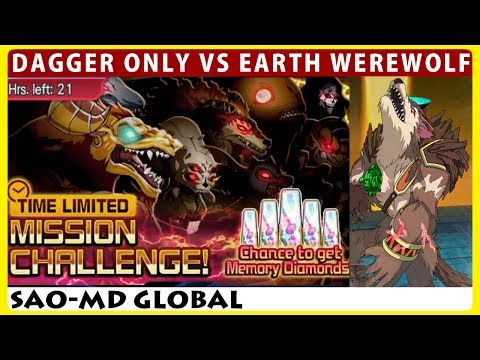 Dagger Char Only! Time Limited Mission Challenge VS Earth Werewolf (SAO Memory Defrag)