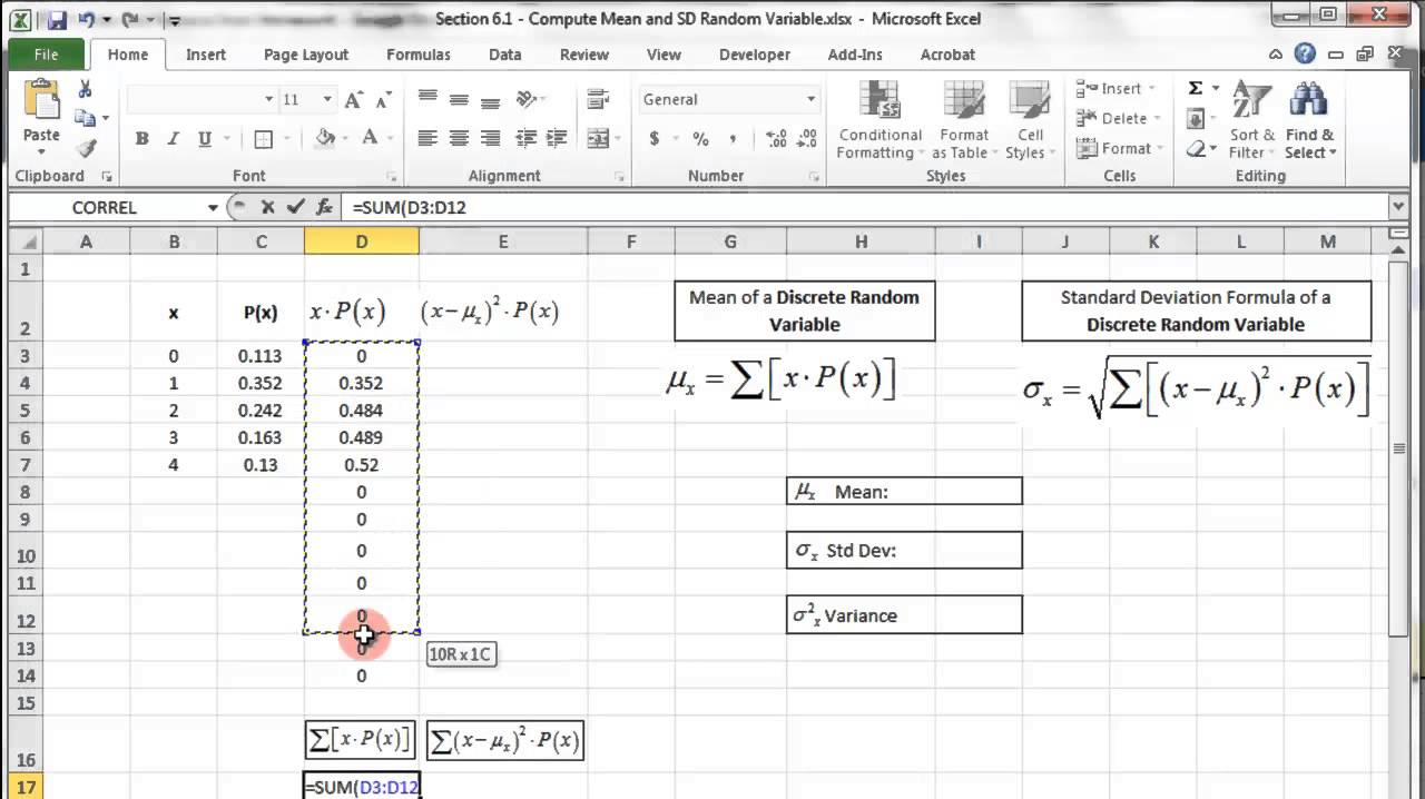 Excel  Discrete Random Variable  Probability Distribution