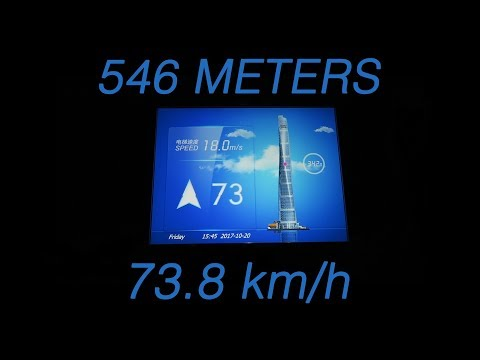 Fastest elevator in the World (546 meters - 73,8 km/h Maximum Speed)