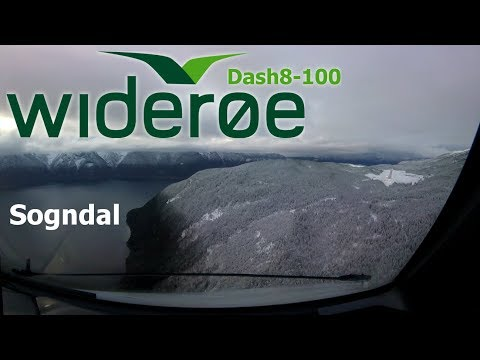 Cockpit View - Amazing Approach into Sogndal - Dash8-100