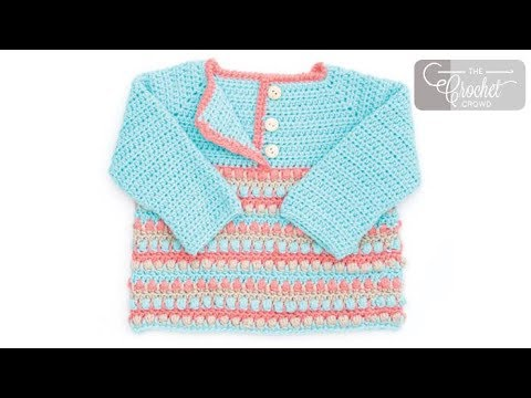 How To Crochet A Baby Sweater 6 12 18 24 Months Youtube
