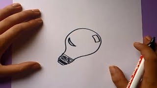 Como dibujar una bombilla paso a paso | How to draw a bulb