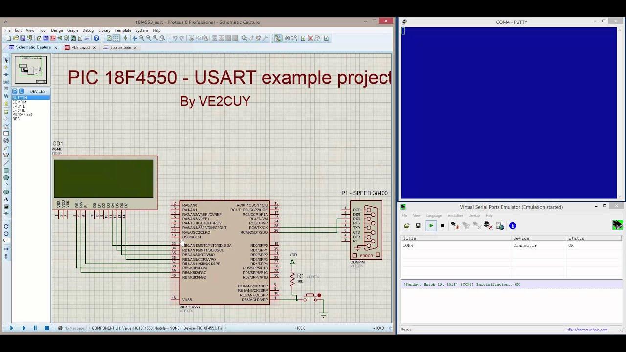 Proteus simulation - PIC 18F + UART + LCD