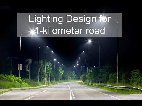 Lighting design for 1 kilometer road