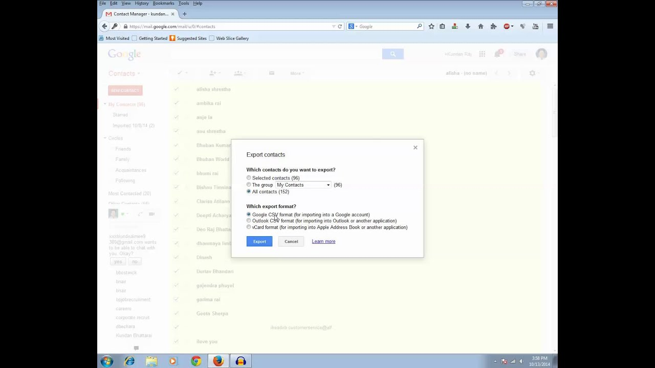 how to export contacts from gmail to another gmail