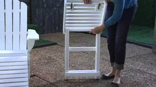 Shoreline Deluxe Adirondack Chair And Ottoman And Table Set White - Product Review Video