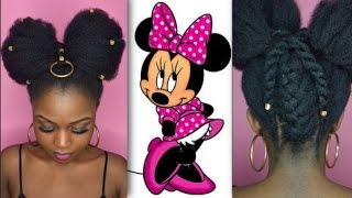 MINNIE MOUSE INSPIRED UPDO | Long Stretched 4c Natural Hair - WestAfricanBaby