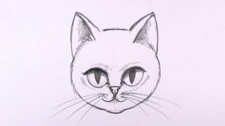 How to Draw a Cat Face in Pencil - Drawing Lesson - MAT