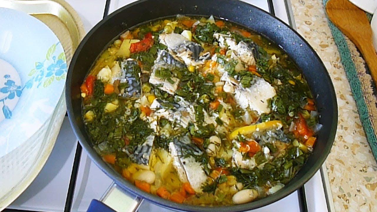 Скумбрия с овощами на сковороде. Самый простой и вкусный рецепт.