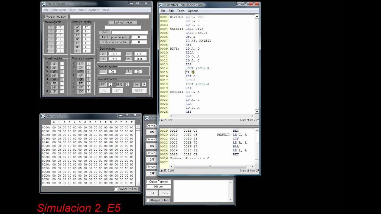 Código en lenguaje ensamblador: Simulación con el z80 Simulator IDE