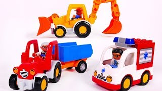 Learn Colors with Backhoe Tractor and Ambulance Building Blocks for Kids