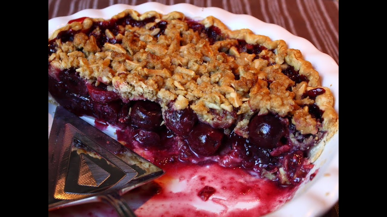 Sweet Cherry Pie with Ginger Crumble Topping - Baker by Nature |Cherry Pie With Crumb Topping