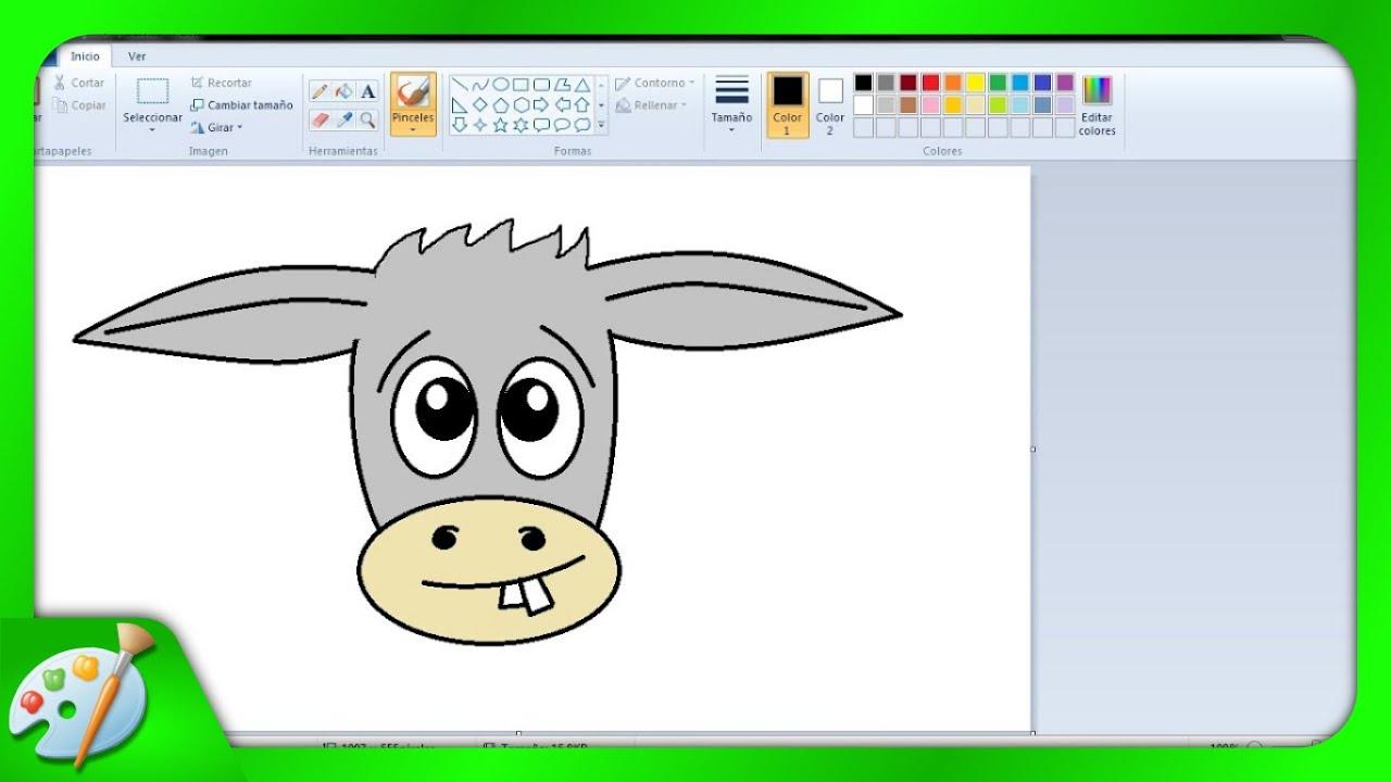 Dibujos Para Niños: Cómo Dibujar Un Burrito Con Paint