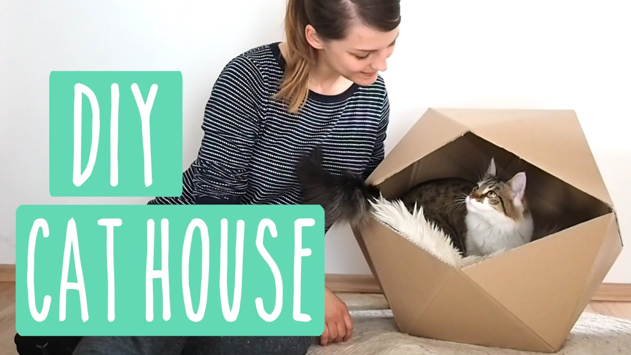 geometric cat house diy katzenhaus aus karton upcycling youtube. Black Bedroom Furniture Sets. Home Design Ideas