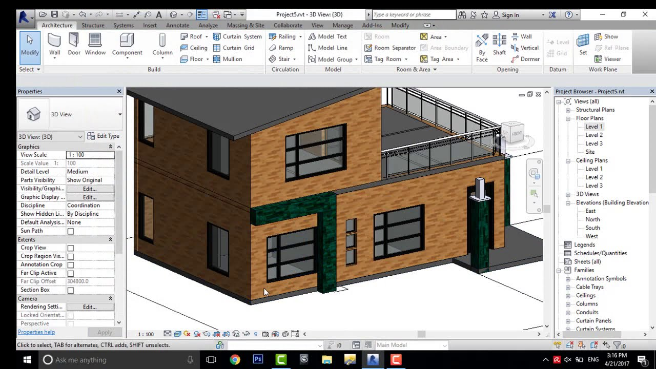 Revit architecture modern house design 5 youtube for Home architecture you tube