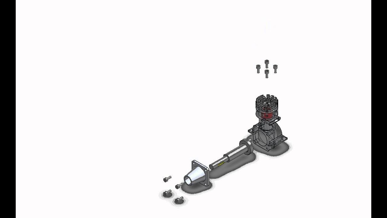 Animation of a two stroke engine model (simplified version