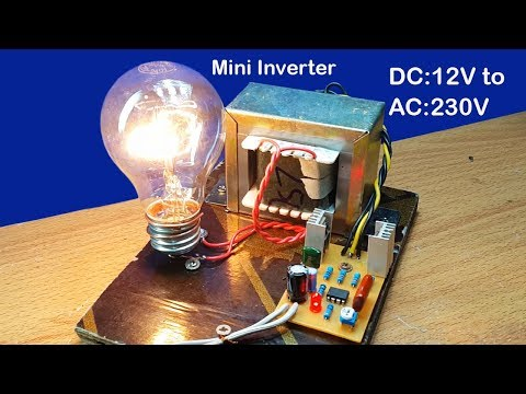 How to make mini inverter DC 12V to AC 230V to 240V using 5A transformer  at home