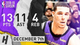 Lonzo Ball Full Highlights Lakers vs Spurs 2018.12.07 - 13 Pts, 11 Ast, 4 Rebounds!