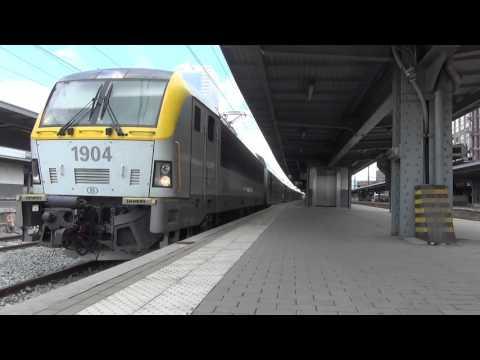 HLE 1904 + M6 + 1919 vertrekt uit Station Brussel-Zuid