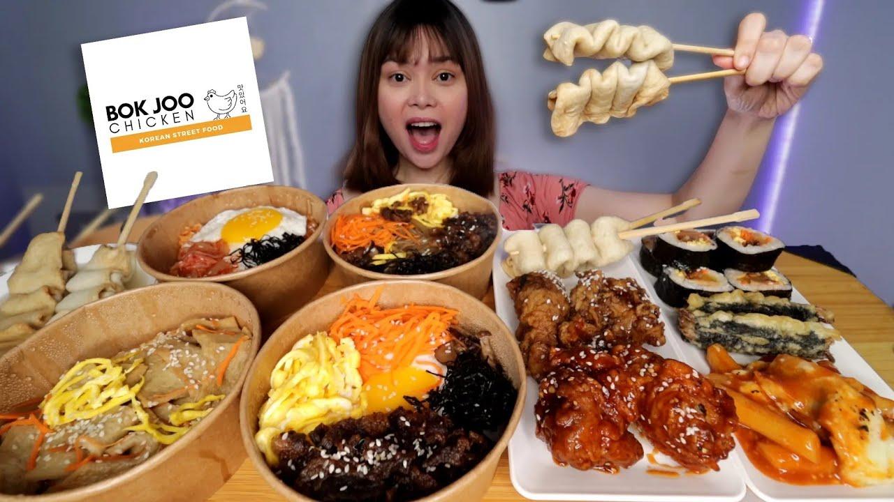 KOREAN STREETFOOD MUKBANG | tteokbokki, japchae, fishcake, kimbap, bibimbap etc.