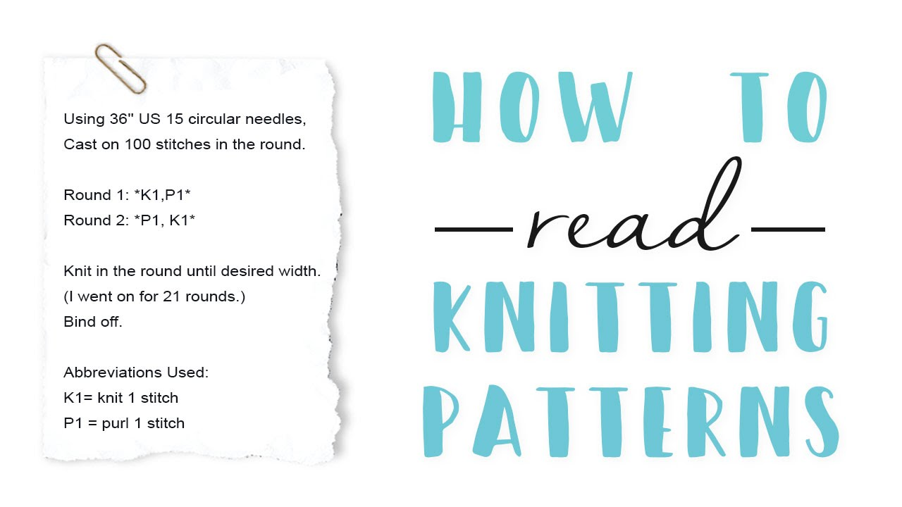 How To Read a Knitting Pattern - YouTube