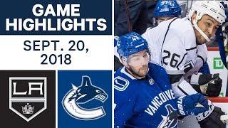 NHL Pre-season Highlights   Kings vs. Canucks - Sept. 20, 2018