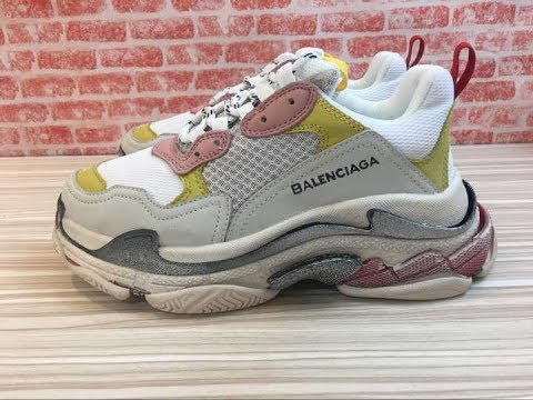 53ee991e58b8 LUCUS s balenciaga triple s pink yellow review Comparison - YouTube