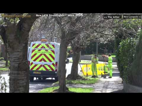 New LED Street Lights Road Works - Digging Holes, Planting Lamp Posts- Sheffield Council Amey (E3)