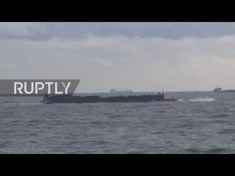 UK: Cargo ship towed to safety after colliding with barge in English Channel
