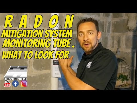 Radon mitigation system monitoring tube, what to look for