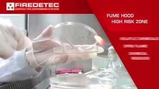 Rotarex Firetec  automatic fire detection,  fire protection and fire suppression system components for fume hoods simulated demonstration.