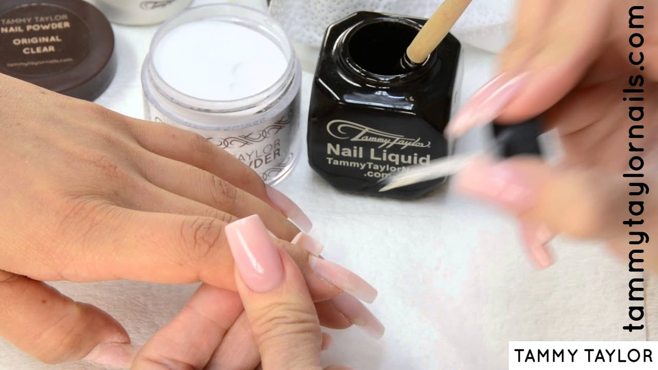 ♡ Tammy Taylor LONG TAPERED SQUARE NUDE LOOK NAILS - YouTube