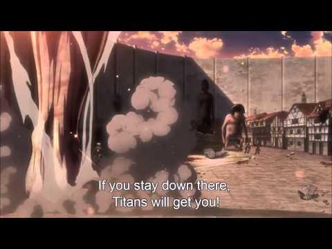 Shingeki no Kyojin  - Eren blocks gate with boulder