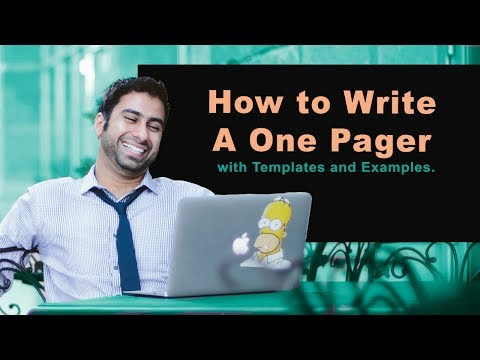 How to Write A One Pager with Templates and Examples