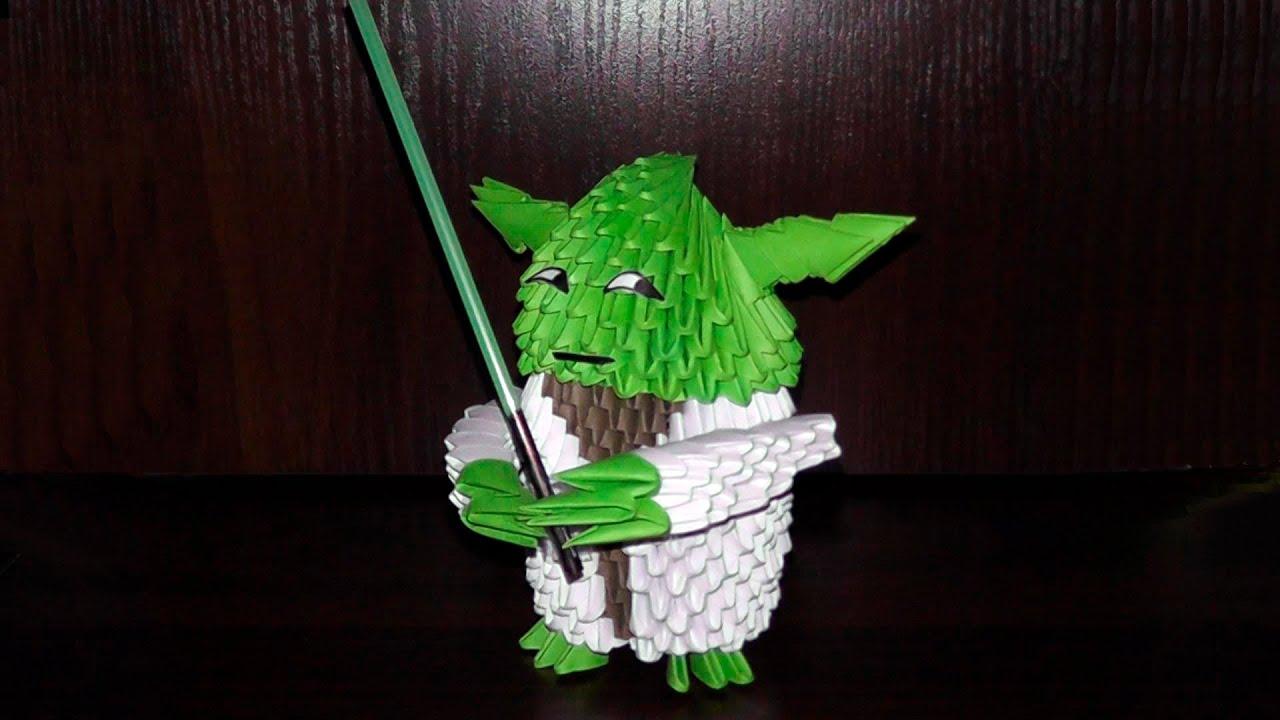 3D origami Jedi Master Yoda from Star Wars diagram (Tutorial)  YouTube