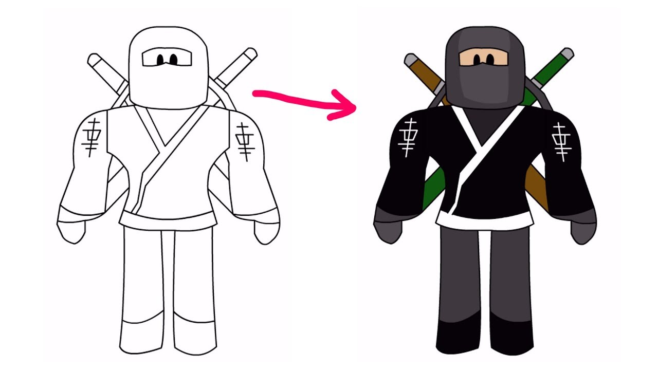 How To Draw Roblox Ninja Roblox Drawing Youtube