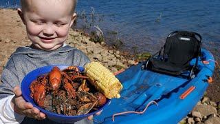 Crawfish Catch & Cook - Camping on Deserted Island (Fishing & Trapping Dinner)