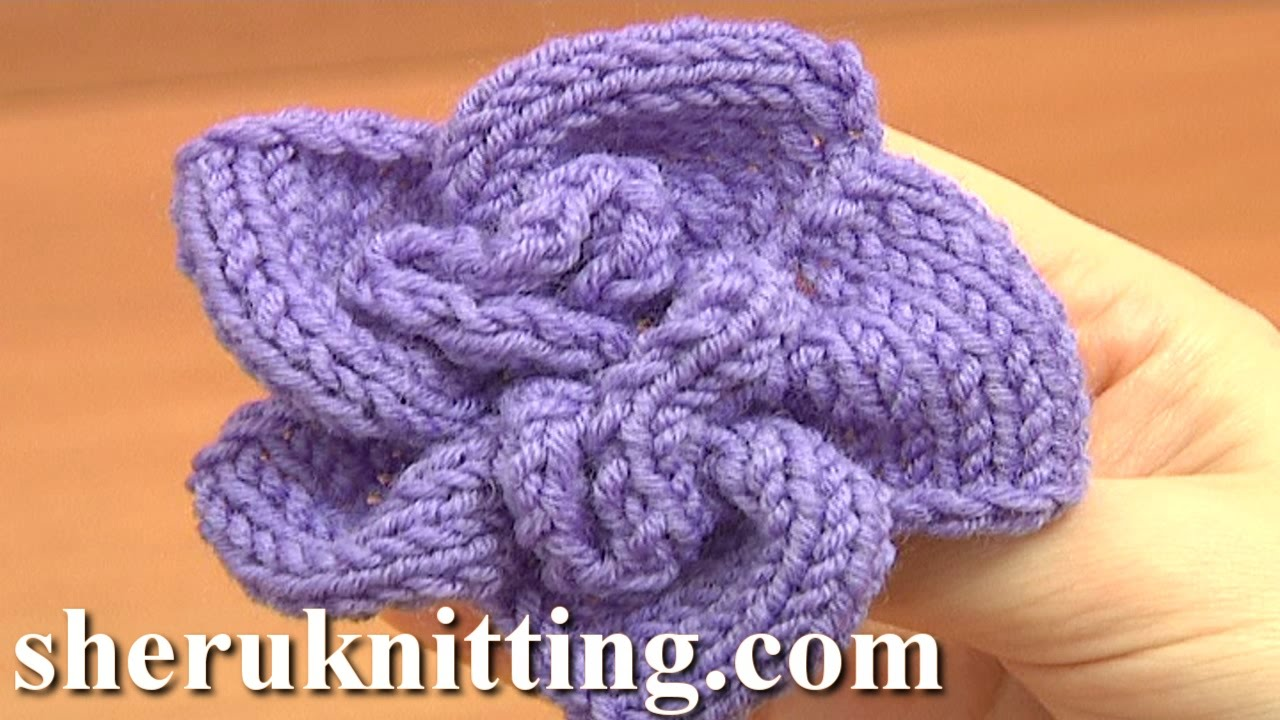 Knitted Spiral Flower Knitting Tutorial 1 Learn How to Knit Flowers ...