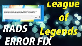 League of Legends | RADS ERROR FIX | 2016 VERY EASY