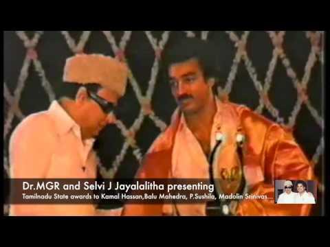 Dr.MGR presenting awards to Kamal Hassan,Balu Mahendra, P.Sushila, Madolin Srinivas