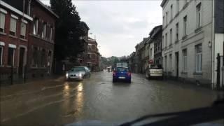 Vidéo inondation N61 rue du Purgatoire à Pepinster suite orage le 6 juin 2016
