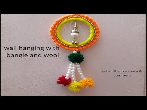 wall hanging with bangles and wool/best out of waste/wall hanging ...