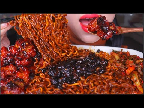 ASMR SPICY BBQ FRIED CHICKEN | SAMYANG BLACK BEAN NOODLES 炸酱面 | GREEN ONION KIMCHI | EATING SOUNDS