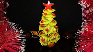 Елочка из киви! Christmas tree of kiwi! Украшения из фруктов! Decoration of fruit!