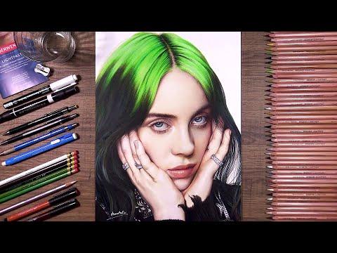 Drawing Billie Eilish Using Derwent Lightfast | Drawholic