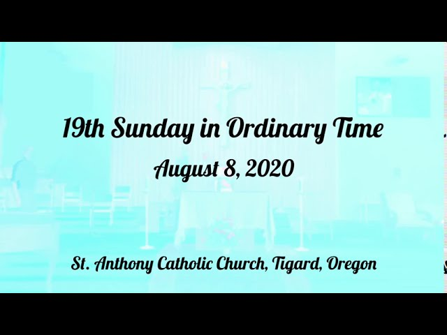20th Sunday in Ordinary Time_live stream_8/16/2020