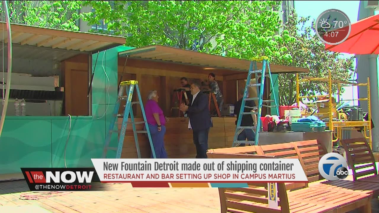 new fountain detroit made out of shipping container - youtube